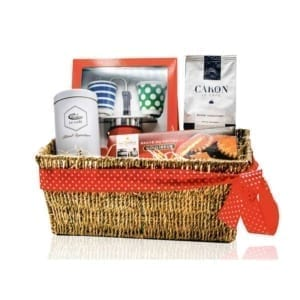 Hamper with coffee and double stovetop moka pot.