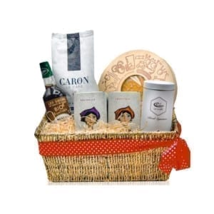 Hamper with tea, coffee and biscuits